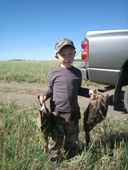 Ralph Tessman and son hunting ducks near Calgary, Alberta, Canada